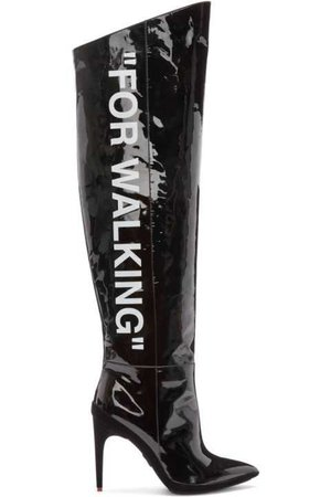 Off-White Black Patent 'For Walking' Over-the-Knee Boots