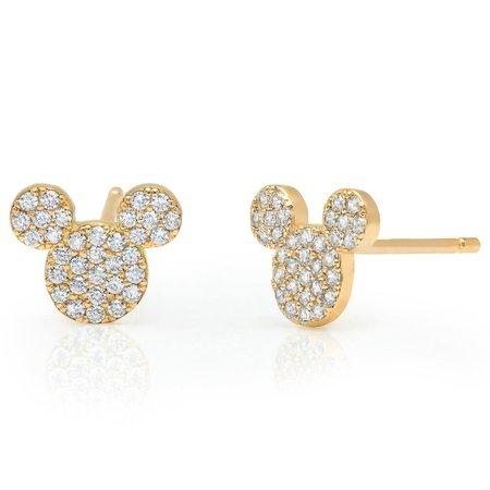 Mickey Mouse Icon Stud Earrings by CRISLU - Yellow Gold | shopDisney