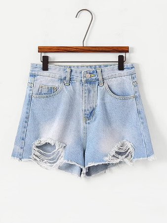 Frayed Hem Denim Shorts