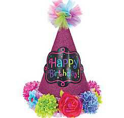 Bright Flowers Happy Birthday Party Hat