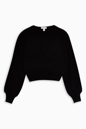 Black Plunge V Cropped Knitted Sweater | Topshop