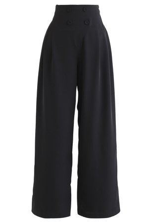 Button Embellished Wide-Leg Pants in Black - Retro, Indie and Unique Fashion