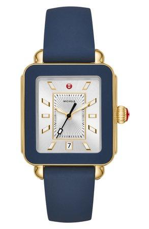 MICHELE Deco Sport Watch Head & Silicone Strap Watch, 34mm x 36mm | Nordstrom