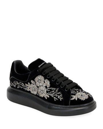 Alexander McQueen Men's Embellished Velvet Oversized Sneakers | Neiman Marcus