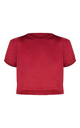 Basic Burgundy Rose Roll Sleeve Crop T Shirt | PrettyLittleThing USA