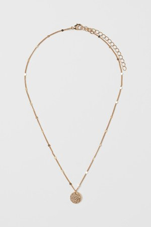Hammered Pendant Necklace - Gold-colored - Ladies | H&M US