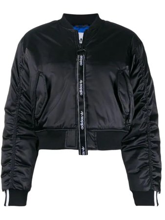 ADIDAS ORIGINALS Cropped Bomber Jacket in Black
