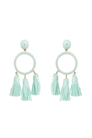 Mint Green Wrapped Tassel Earrings | Current Boutique
