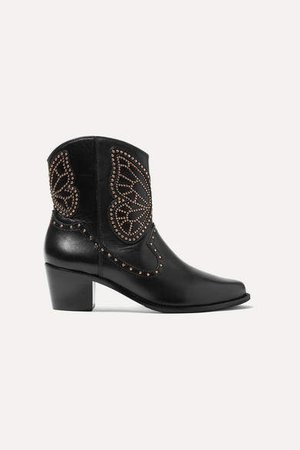 Shelby Studded Leather Ankle Boots - Black
