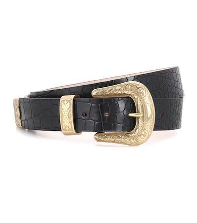 Embossed leather belt