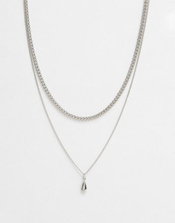 DesignB London multirow fine necklace in silver with solid pendant | ASOS