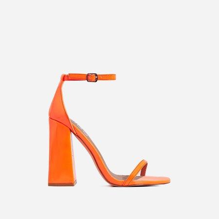 Atomic Square Block Heel In Neon Orange Patent   EGO