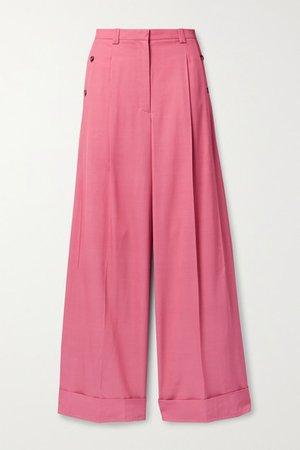 Flou Pleated Twill Wide-leg Pants - Pink