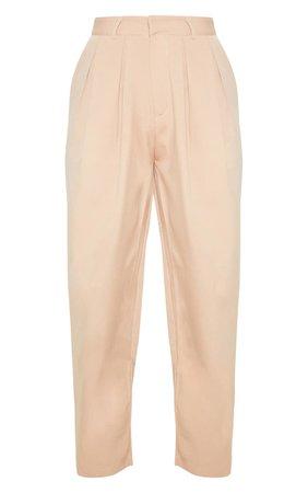 Camel Woven High Waisted Cigarette Trouser | PrettyLittleThing USA