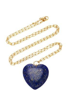 18K Gold And Lapis Lazuli Necklace by Haute Victoire   Moda Operandi