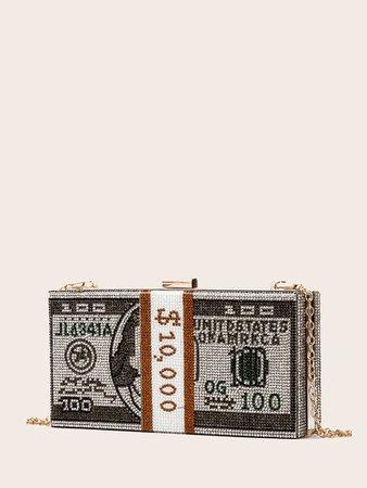 Rhinestone Money Design Clutch Bag | SHEIN USA