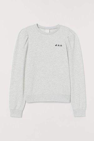 Puff-sleeved Sweatshirt - Gray