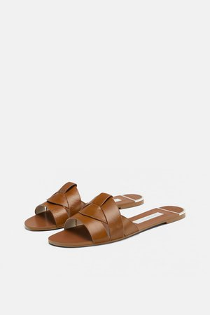LEATHER CROSSOVER SANDALS - View all-SHOES-WOMAN | ZARA Denmark