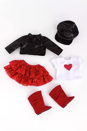 Amazon.com: - Chic and Sassy - 5 Piece Outfit - Clothes Fits 18 American Girl Doll - Motorcycle Faux Leather Jacket with Paperboy Hat, White T-Shirt, Red Skirt & Boots (Doll Not Included): Toys & Games