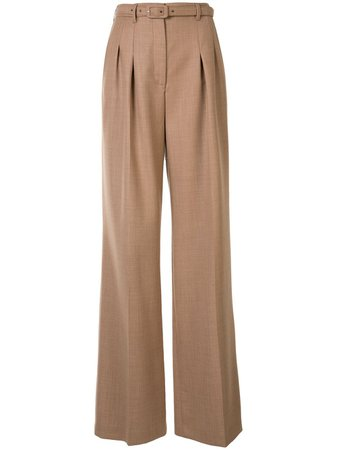 Shop brown Gabriela Hearst Dora belted wide-leg trousers with Express Delivery - Farfetch