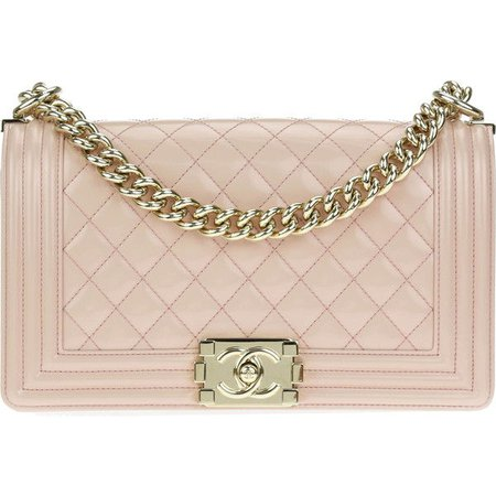 Pre-owned Chanel Light Pink Patent Leather Medium Boy Bag