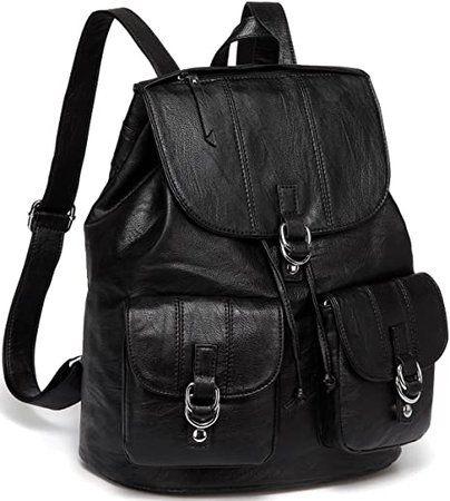 Amazon.com: Backpack Purse for Women,VASCHY Fashion Faux Leather Buckle FlapDrawstring Backpack for College with Two Front Pockets Black