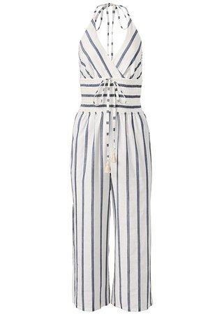 Halter Stripe Jumpsuit in White Multi   VENUS
