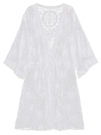 Embroidered Sheer Kimono Cover Up | Rosegal
