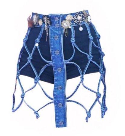 blue denim ripped skirt