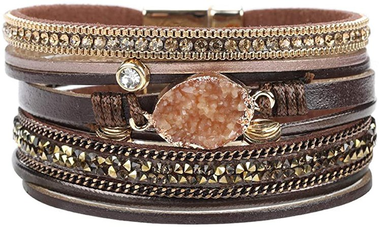 Multi-Layered Leather Wrap Bracelet - Stackable Handmade Boho Wrap Charm Bracelet Cuff Bangle Chunky Wrap Around Bracelet Inlaid Rhinestone with Magnetic Buckle Fashion Gift for Women, Girls: Clothing