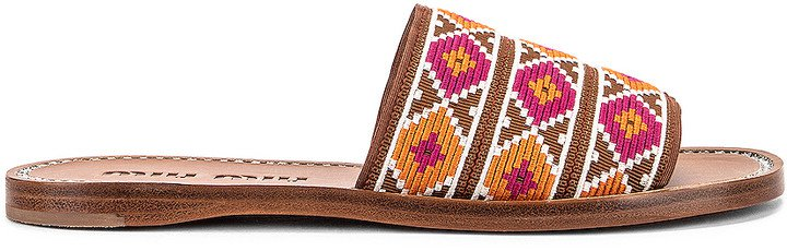 Jewel Flat Sandals in Fuxia & Papaya | FWRD