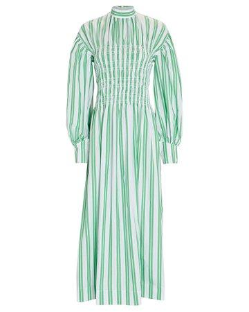 GANNI Stripe Cotton Midi Dress   INTERMIX®