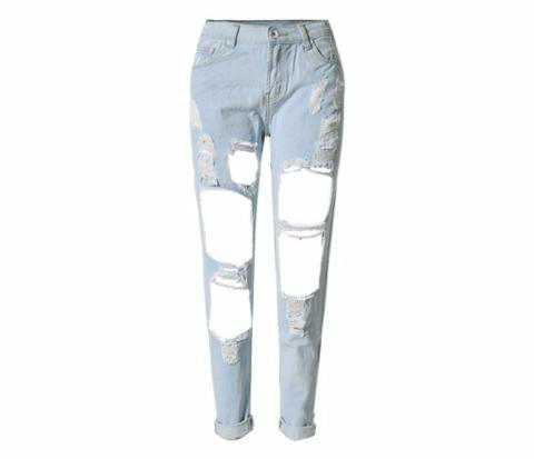 Stylish Rip Hole High Waist Denim Jeans