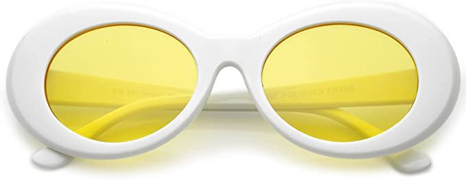 Amazon.com: zeroUV - Bold Retro Oval Mod Thick Frame White Sunglasses Clout Goggles with Round Colored Lens 51mm (White/Yellow): Clothing