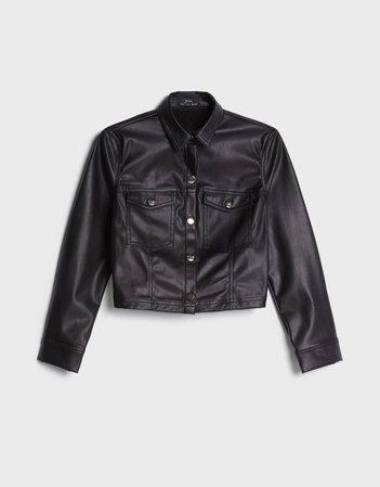 Faux leather shirt - Outerwear - Woman   Bershka black