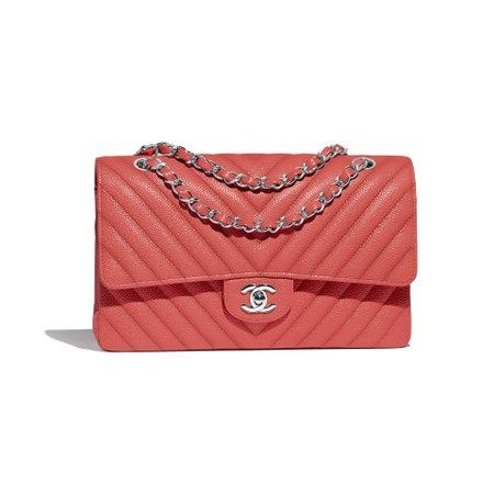 Grained Calfskin & Silver-Tone Metal Coral Classic Handbag | CHANEL