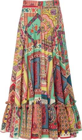 Patterned Cotton-Poplin Skirt