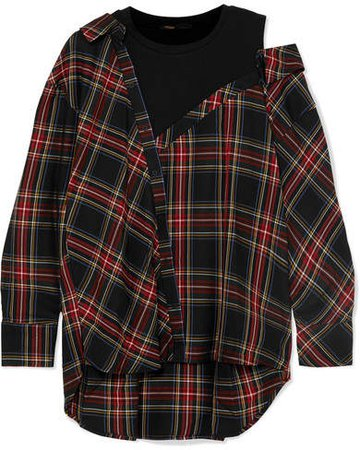 Layered Plaid Twill And Stretch-cotton Jersey Top