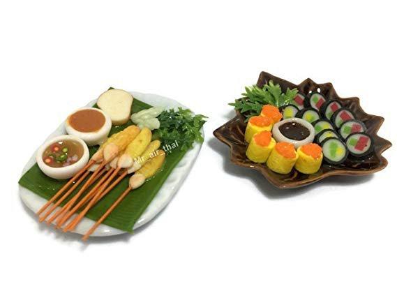 Amazon.com: 2 Miniature Sushi Set Food Dollhouse Drink Japan Food Shshi Bento Vegetable Fruit Decor Furniture ( Sushi,Pork Satay) F07: Toys & Games