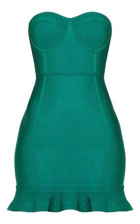 Emerald Green Bandage Frill Hem Bodycon Dress   PrettyLittleThing