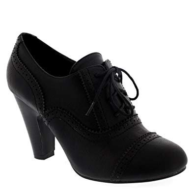 Women's Lace Up Heeled Oxford's (Black)