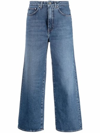 Shop Totême wide-leg cropped jeans with Express Delivery - FARFETCH