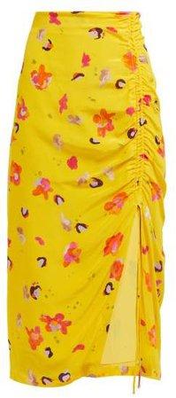 Fausto Floral Print Silk Midi Skirt - Womens - Yellow Multi
