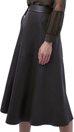 Arlan Belted Leather Midi Skirt