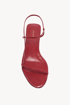 Bare Flat Sandal In Leather in Ruby Red | The Row.com