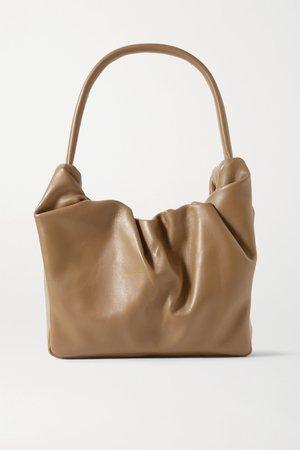 Tan Felix ruched leather shoulder bag   STAUD   NET-A-PORTER