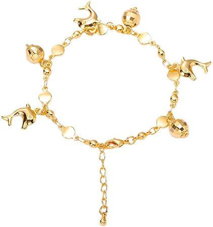 Amazon.com: Women's Link Charm Bracelet Lantern and Heart Pendant Charms Bracelet Bangles for Girls Boy Bbracelets Birthday Gifts (Golden): Clothing