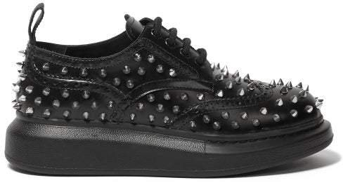 Studded Flatform Leather Brogues - Womens - Black Silver