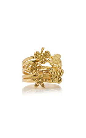 18K Yellow Gold Five Symbols of Life Ring by Gaya | Moda Operandi