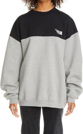 Colorblock Logo Cotton Blend Sweatshirt
